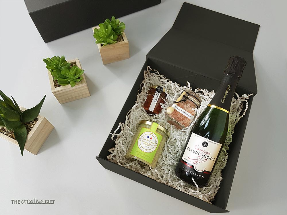 coffret cadeau comite dentreprise remerciement chocolat sel rose miel champagne