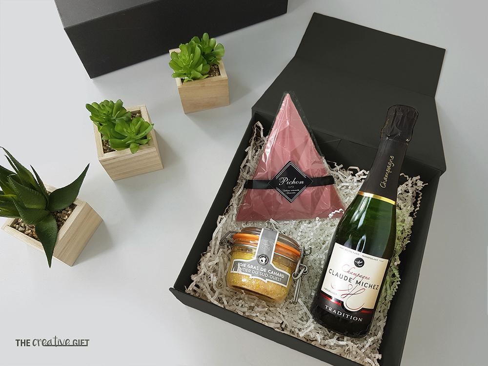 coffret cadeau comite dentreprise soiree investisseurs chocolat foie gras champagne