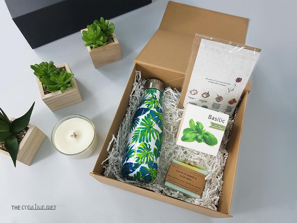 coffret cadeau pour employe go green gourde isotherme ecocube graines bougie savon