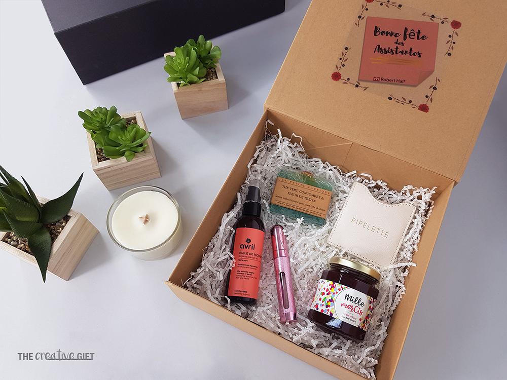 coffret cadeau evenement en entreprise journee des assistantes huile miroir pargum confiture savon